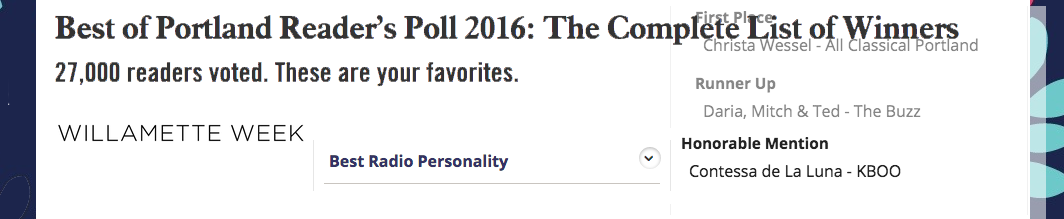 Contessa Luna Earns Honorable Mention in WWEEK's Best of Portland 2016 for Best Radio Personality